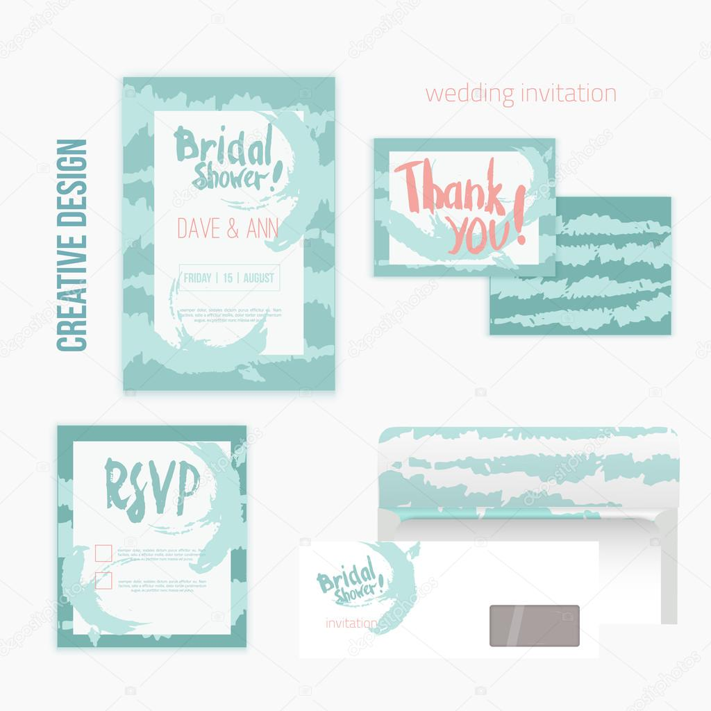 Set of wedding invitation cards withthank you card, RSVP card, envelope in mint vintage style.