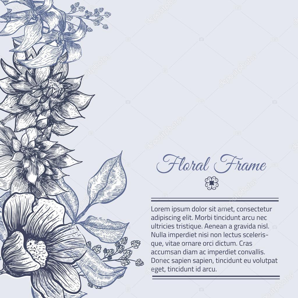 Vector el diseño de fondo floral Vintage marco. Ilustración botánica ...