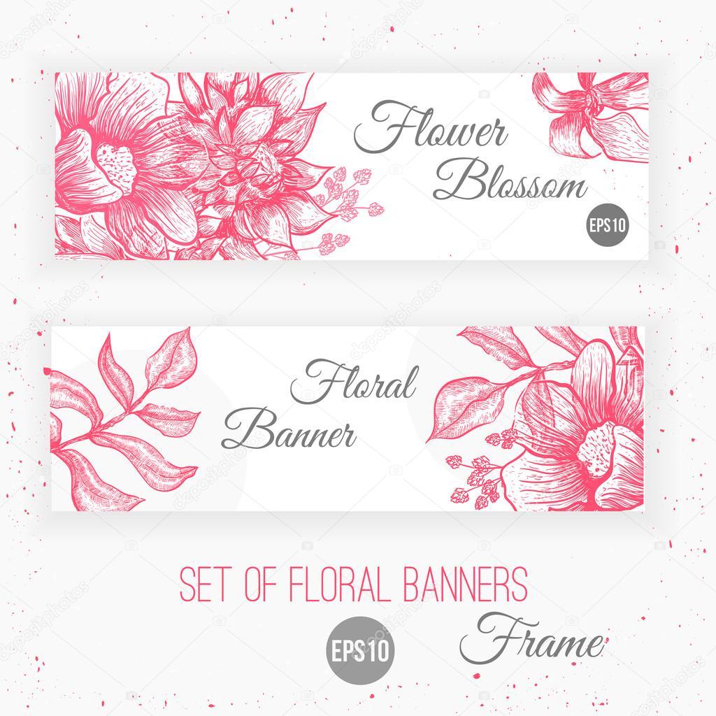 Vector Vintage  floral banners design. Botanical illustration. Sketch linear template for card invitations, banner, save the date, site.