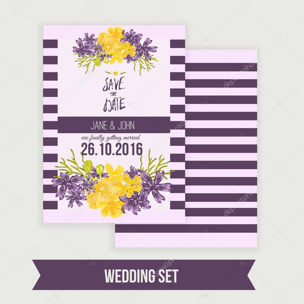 Wedding invitation  template with floral wreath. Vector background Save the date cards and special occasions, life events, baby shower.