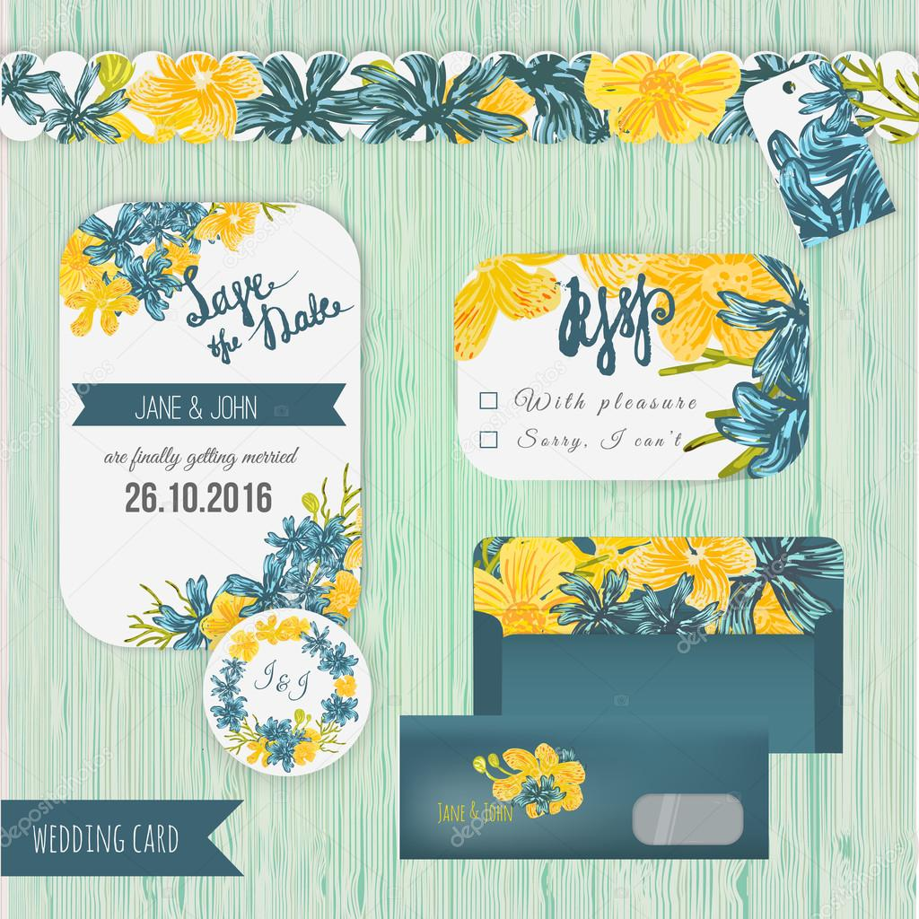 Vector watercolor effect save the date card set in rustic style with blue and yellow flowers.