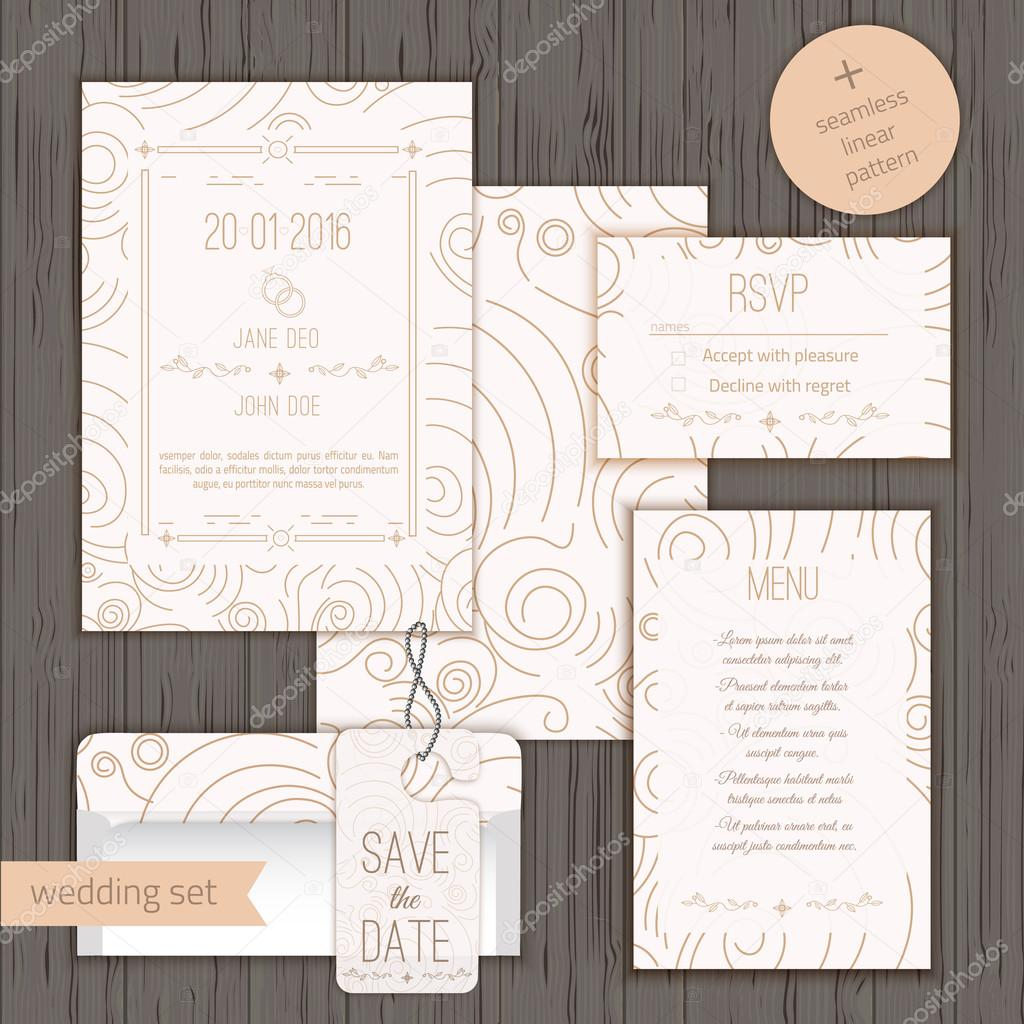 Modern linear wedding invitation card design set include Invitation ...