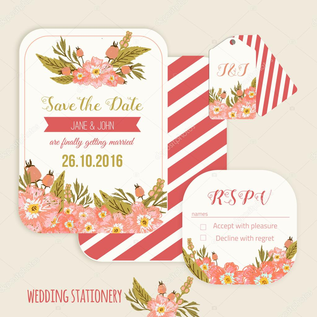 Vector  save the date card  with hand drawn vintage  flowers  in rustic style with tags and rsvp card.