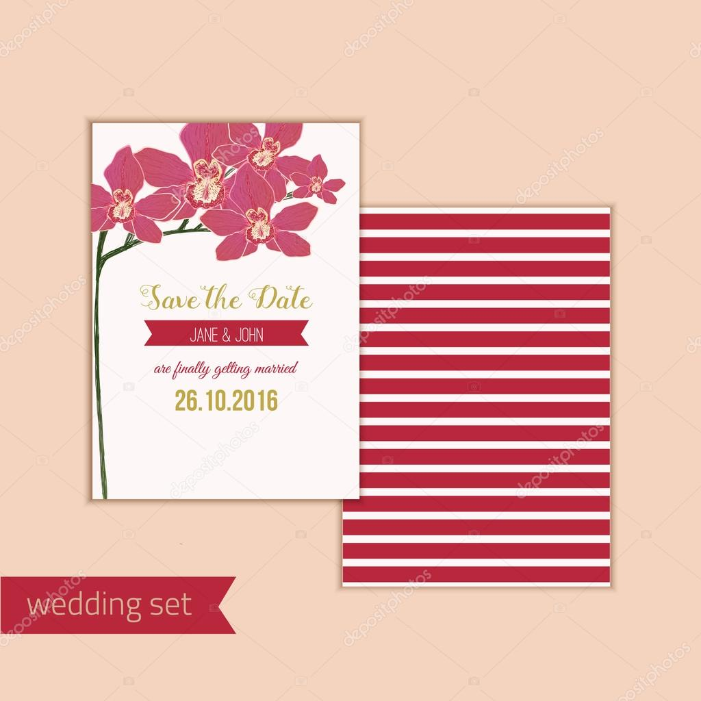 Wedding save the date card with red orchid flowers. Can be used for ...