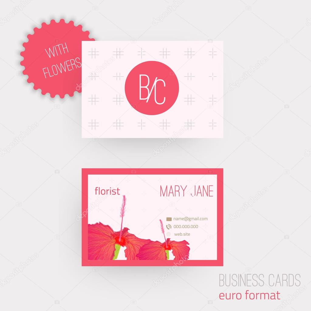 Vector floral horizontal business cards. Complied with the euro ...
