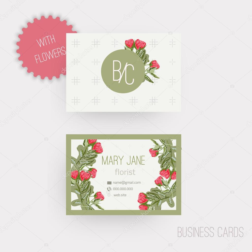 Vector floral horizontal business cards. Complied with the euro standard sizes.