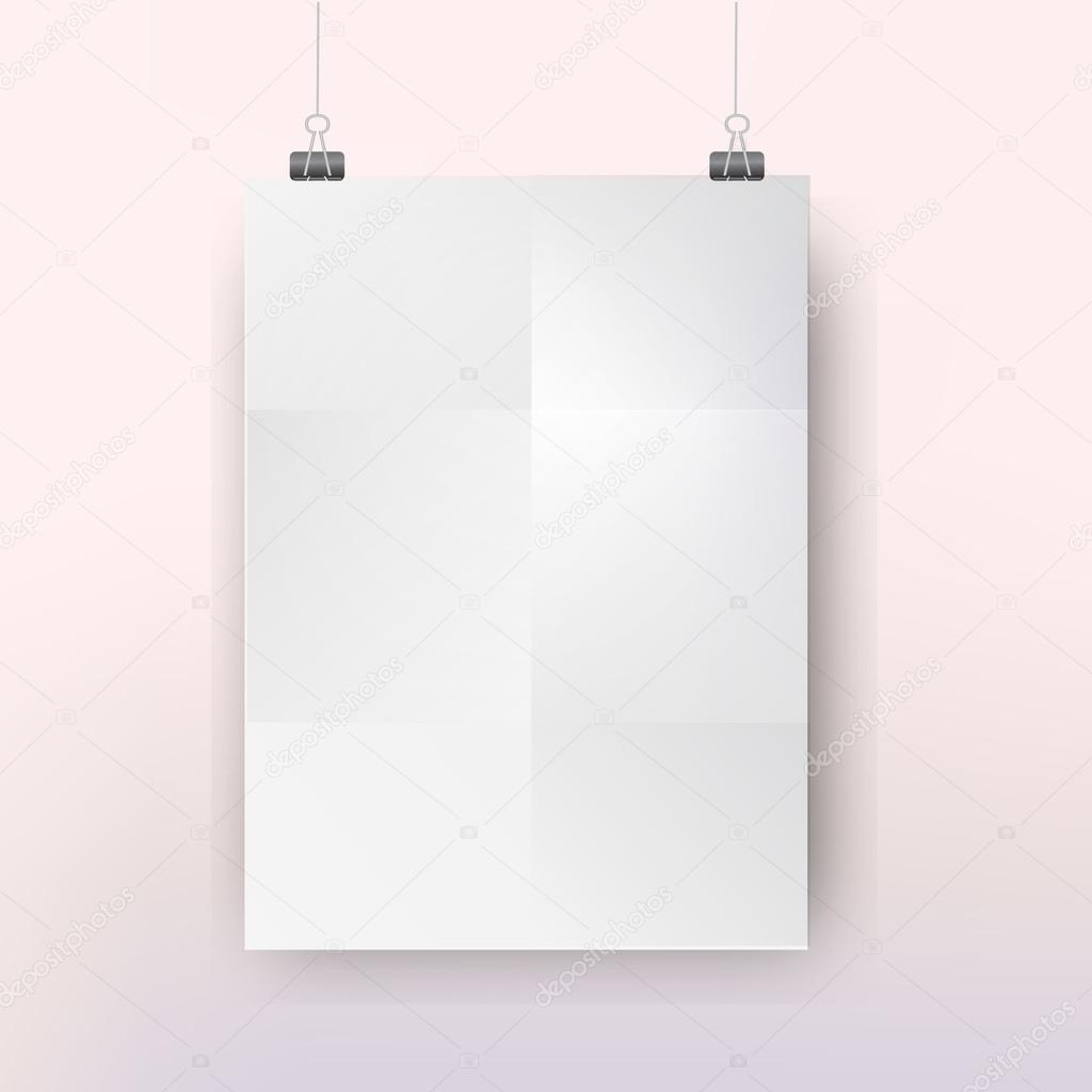 poster template with bulldog clips on serenity and rose quartz