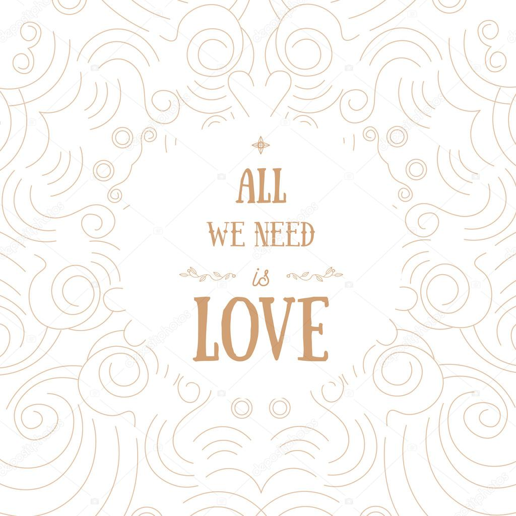 Vector modern shape valentine greeting card with words all we need vector modern shape valentine greeting card with words all we need is love can be kristyandbryce Images
