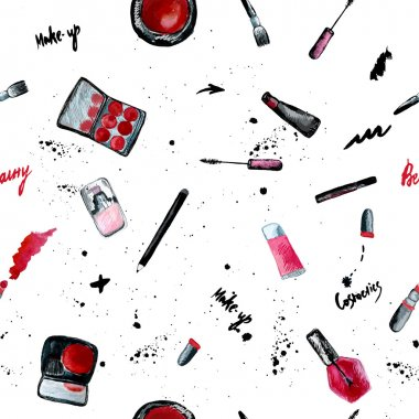 Vector glamorous make up seamless pattern with nail polish and lipstick.Creative design for card, web design background, book cover. EPS10 clip art vector