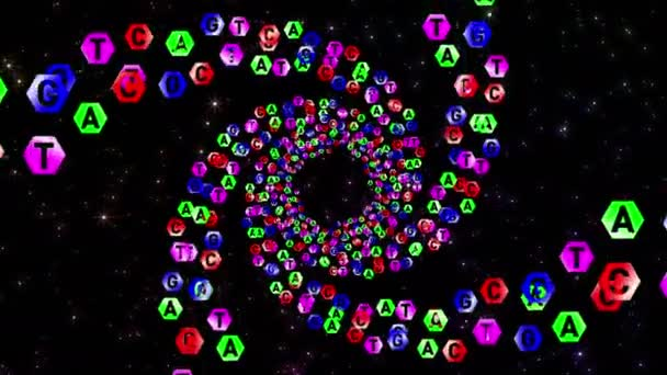 A, T, G, C. Genetic alphabet. DNA. Letter coding in the science of genetics. Spiral motion in the tunnel.