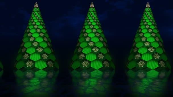 Absztrakt animáció forgó virtuális karácsonyfák halad előre a reflexió. A karácsony és az újév háttere.