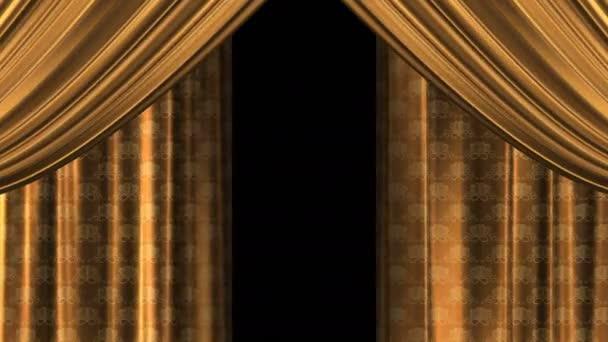 V zákulisí se svatebním vzorem srdcí na látce. Zlaté houpající se plátno. Rozepínání záclon, křídel. Izolovat. Průhledné pozadí. Alpha kanál.
