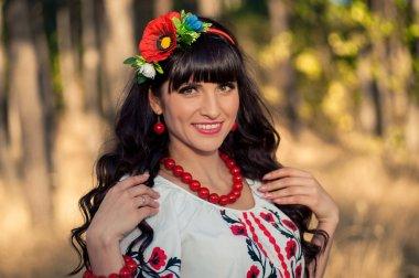 Portrait ukrainian woman stock vector
