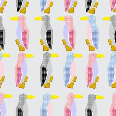 funny penguins seamless pattern