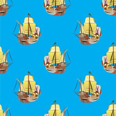 Old sailing ships seamless pattern