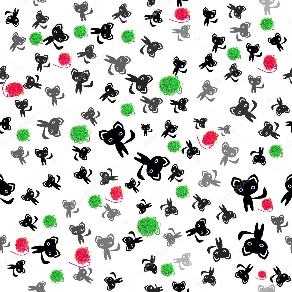 gatos negros y bolas de patrones sin fisuras de lana — Archivo ...