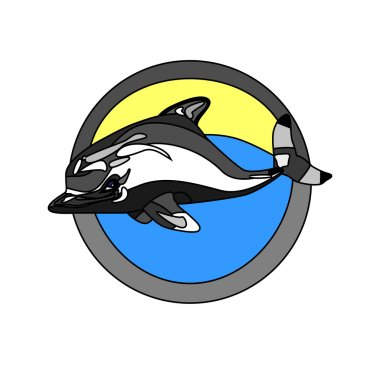 outlined dolphin in water