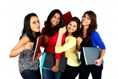 Group of smiling female students, isolated on white background.
