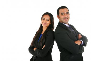 Asian Indian businessman and businesswoman in a group
