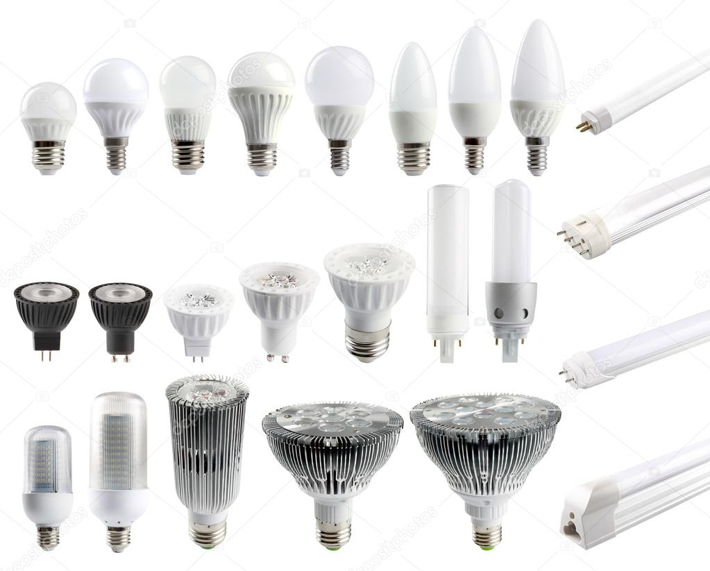 A large set of LED bulbs isolated on white background