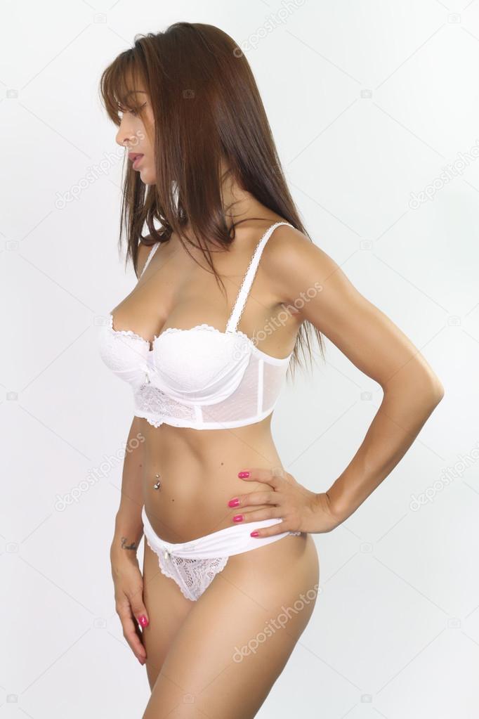 détaillant en ligne plus grand choix vif et grand en style Femme portant un sous-vêtement blanc — Photographie ...