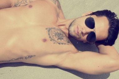 handsome guy wearing sunglasses
