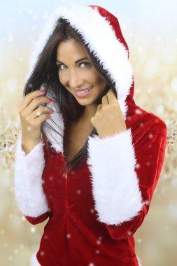The Christmas season - beautiful girl smiling