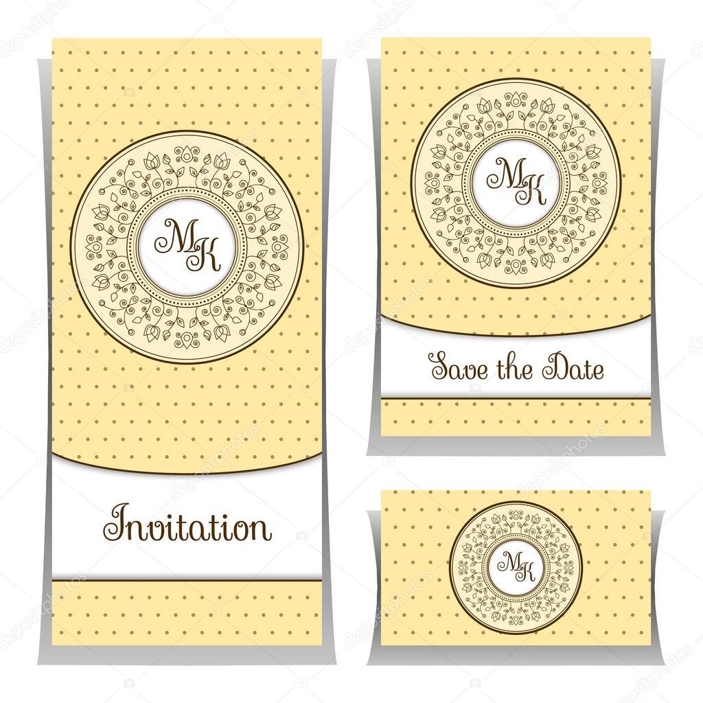Save the date or wedding invitation template with elegant ornament save the date or wedding invitation template with elegant ornament elements vetores de stock stopboris Images
