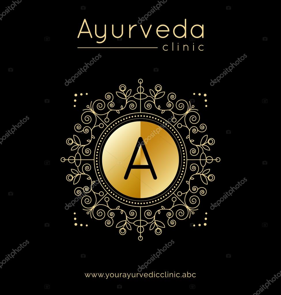 Logo template for ayurvedic clinic or center with golden texture