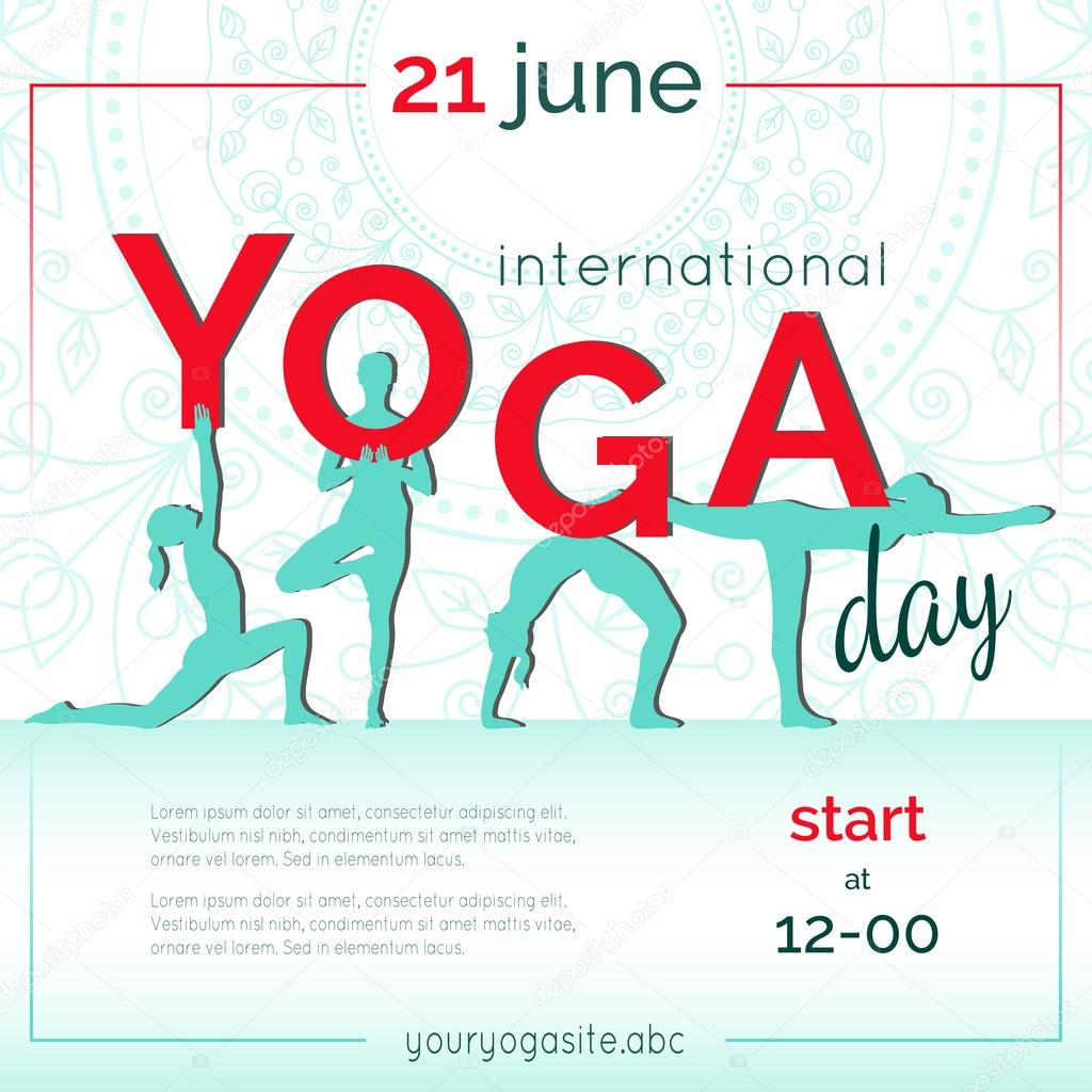 Template Of Poster For International Yoga Day Flyer 21 June Women Do Exercises Flat Design Girls Silhouettes Letters On Ethnic