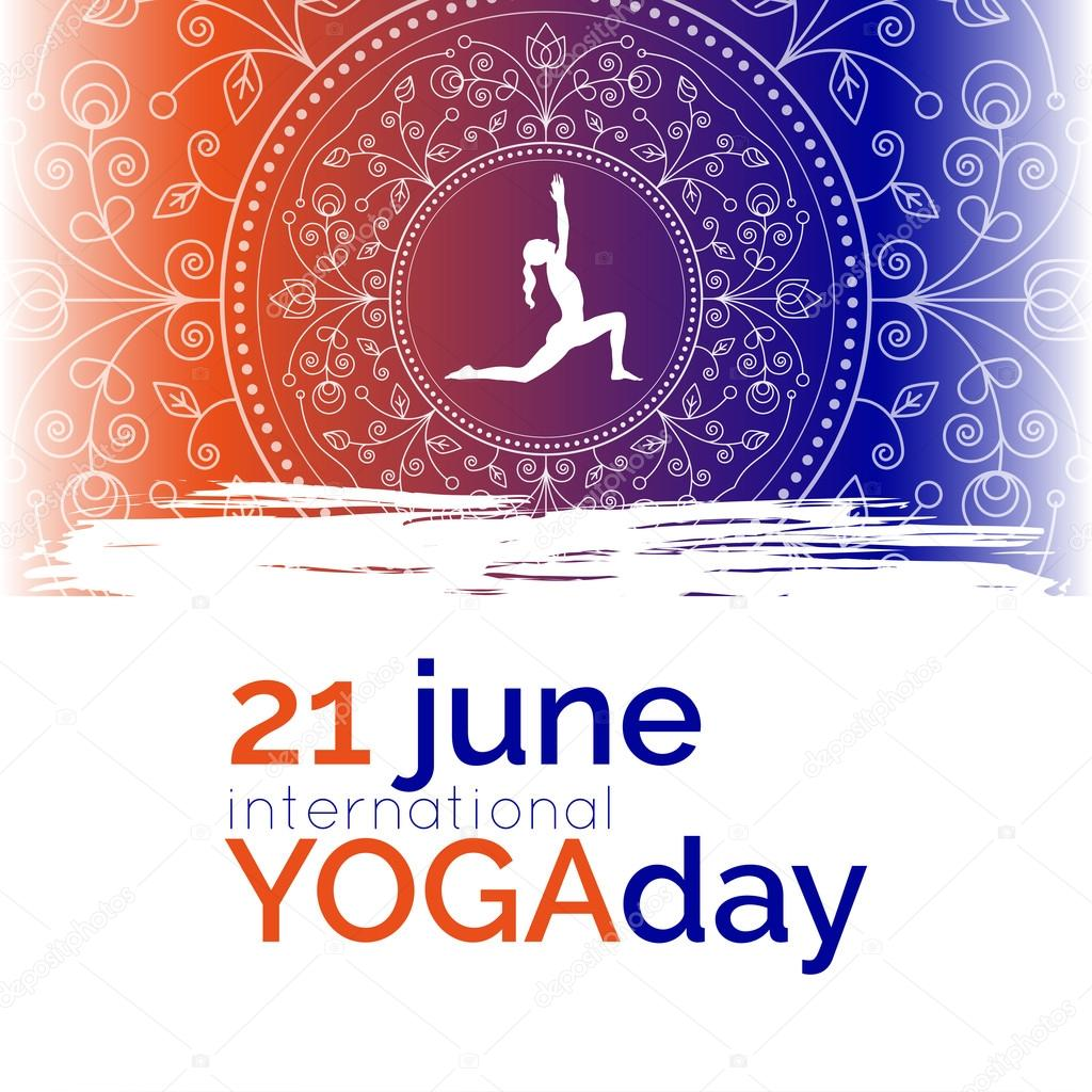 Plantilla del cartel para el día internacional del Yoga — Archivo ...