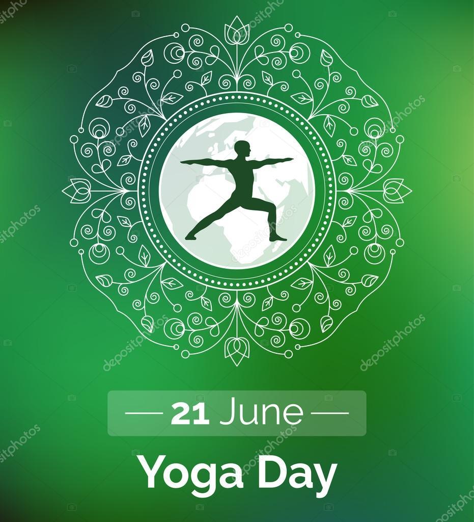 Plantilla del cartel para el día internacional del Yoga. Flyer para ...