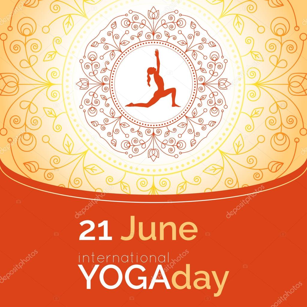 Flyer For 21 June Yoga Day Girl Does Exercises On Ethnic Pattern Backdrop Linear Design Trendy Poster Banner Vector By GL Sonts