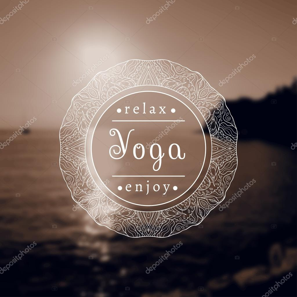 Vector yoga illustration. Name of yoga studio on a black and white background.