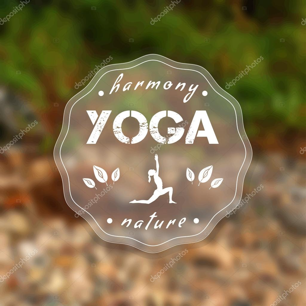 Vector yoga illustration. Name of yoga studio on a nature background.