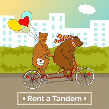 Bears on a tandem bicycle.