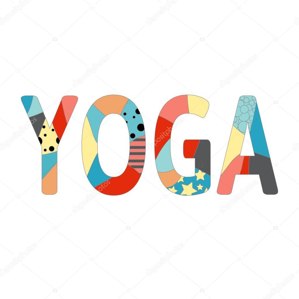 Inscripción colorida Yoga . — Vector de stock