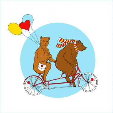 Bears  on a tandem bicycle
