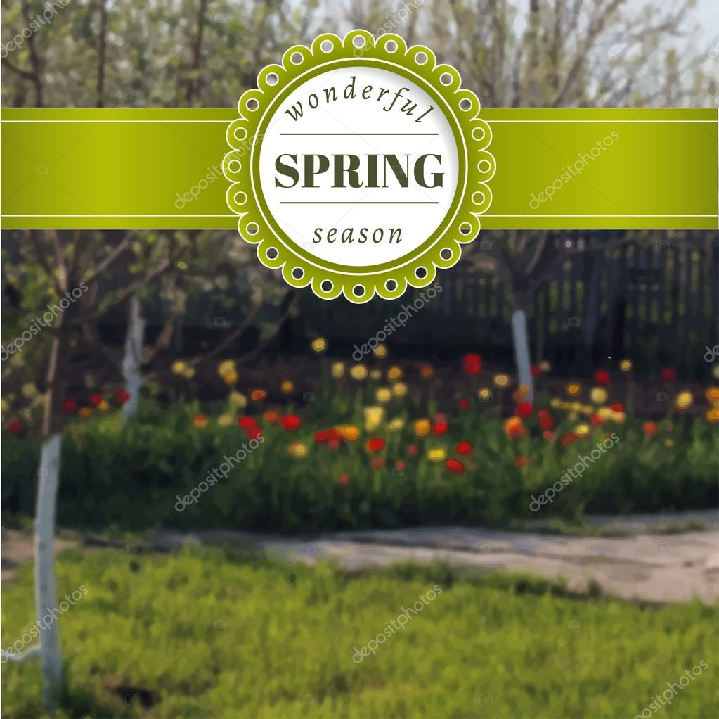 Spring blurred poster with tulips. Vector photo background.