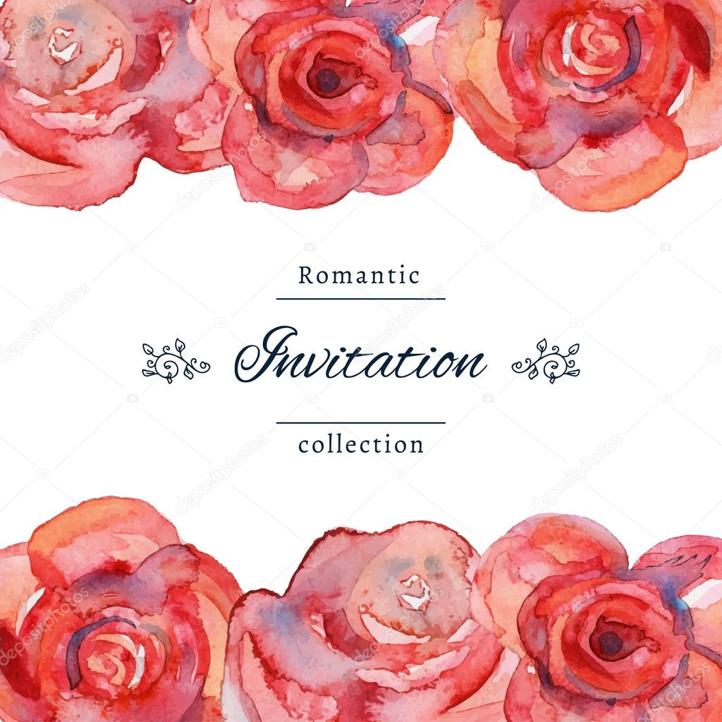 wedding invitation template with roses stock vector gl sonts