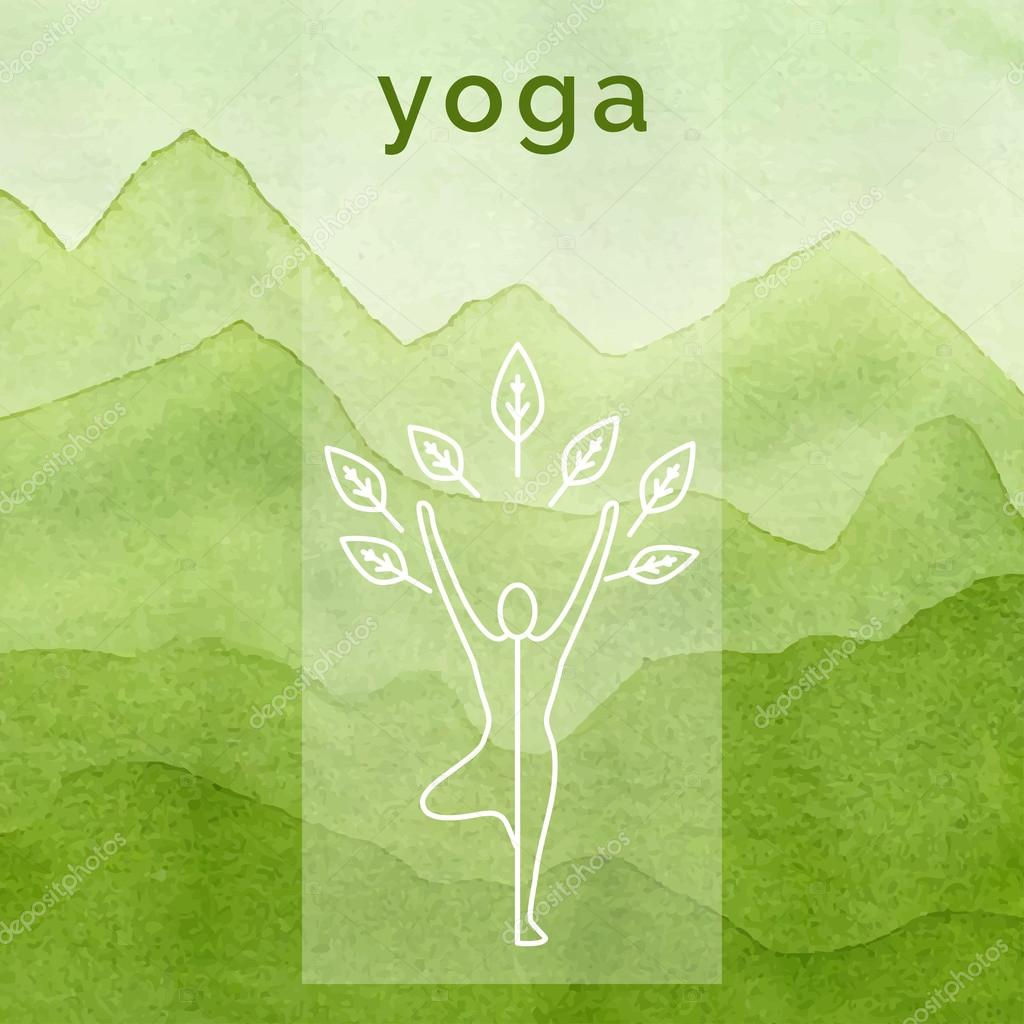 Poster design nature - Poster For Yoga Class With A Nature Backdrop Linear Yoga Icon Yoga Logo In Outline Style Yoga Elements Design Watercolor Background Yoga Studio