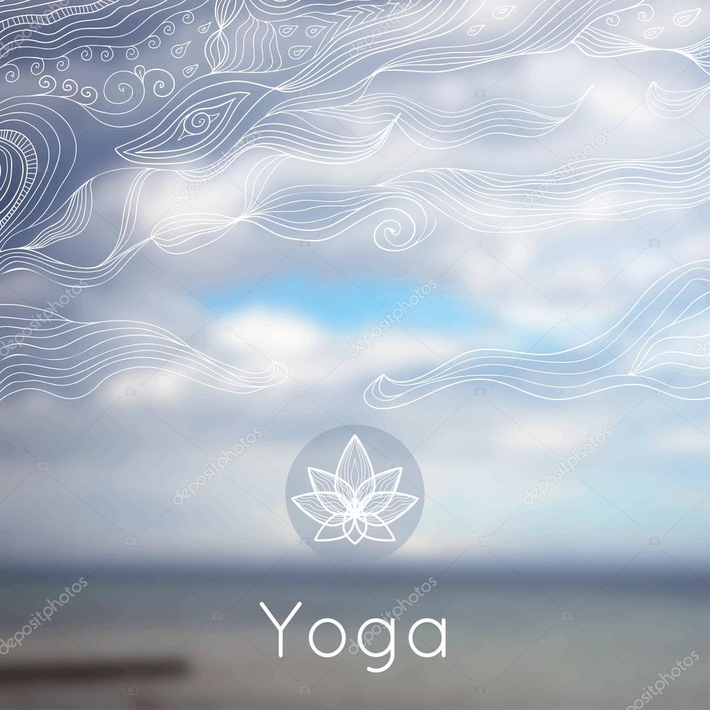 Vector yoga illustration. Poster for yoga class with a nature backdrop.
