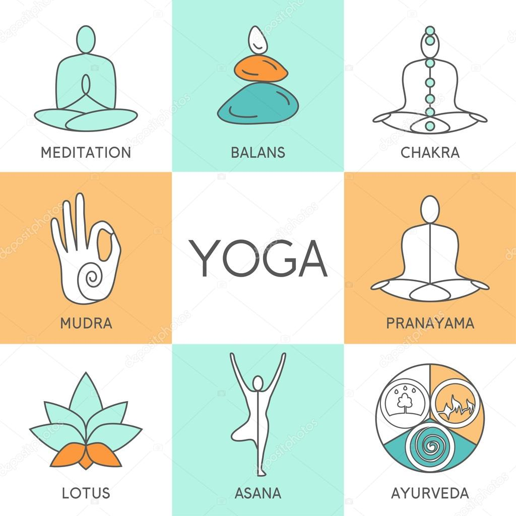 Set Of Linear Yoga Icons Stock Vector