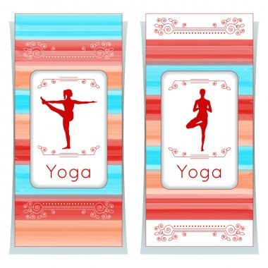 Yoga posters with floral ornament and yogi silhouette.