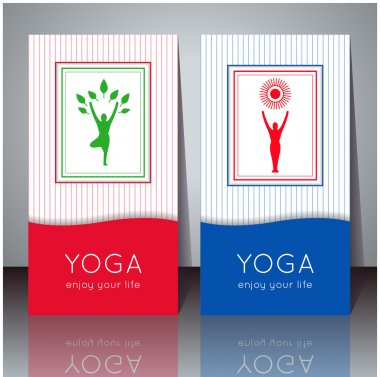 Yoga cards with your text and yogi silhouette.