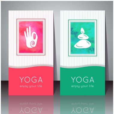 Yoga cards with watercolor texture and yoga symbols.