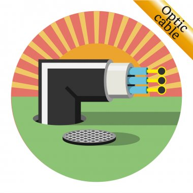 Optic cable icon from the hatch. Vector illustration