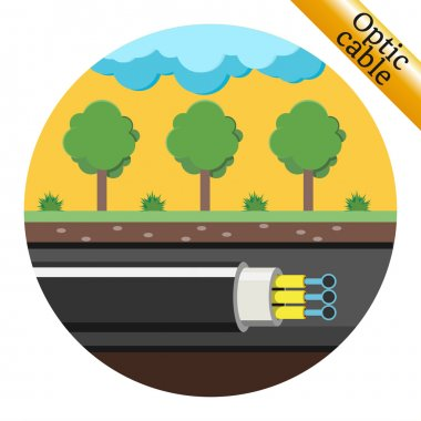 Optical cable laid underground. Vector illustration