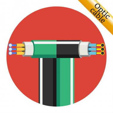 Two optic cable icons on red background. Vector illustration