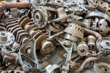 Old machine parts in second hand machinery shop
